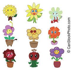 cartoon, blomst, fairy, ikon, sæt