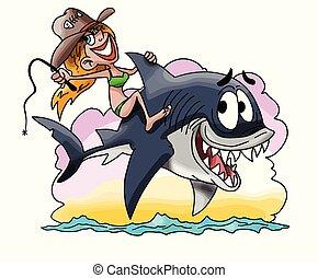 Cartoon blond girl riding a great white shark vector illustration