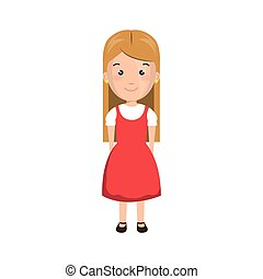 cartoon blond girl with cute dress