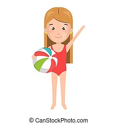 cartoon blond girl with summer swimsuit and ball