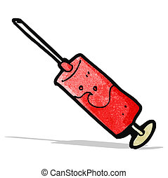 cartoon blood filled syringe
