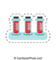 cartoon blood test tube sample with rack