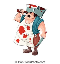 Cartoon bloody butcher. - Colorful vector illustration of a...
