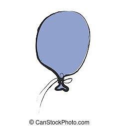 cartoon blue balloon, vector