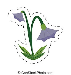 cartoon blue bell flower image vector illustration eps 10