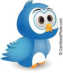 cartoon blue bird isolated