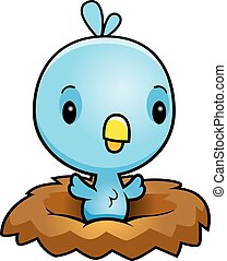 Cartoon Blue Bird Nest - A cartoon illustration of a baby...