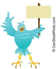 cartoon blue bird with blank sign