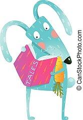 Cartoon blue bunny reading book eating carrot - Cute cartoon...