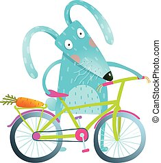 Cartoon blue bunny with bicycle - Funny blue bunny with...