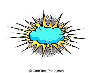 Cartoon Blue Comic Cloud Burst - Comic Retro Sunburst...