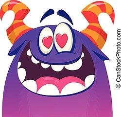 Cartoon blue cool monster in love. St Valentines vector illustration of  loving monster