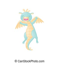 Cartoon blue dragon bounces. Vector illustration on white background.