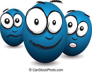 cartoon blue egg face