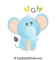 Cartoon blue elephant. Vector illustration on a white background.