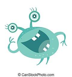 Cartoon Blue Microorganism. Funny Smiling Germ