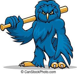 Cartoon blue owl baseball player with bat