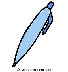 cartoon blue pen in doodle style. isolated vector illustration