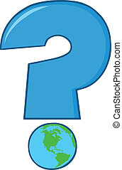 Blue Question Mark With World Globe
