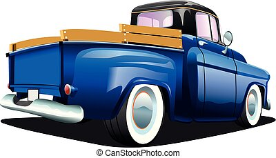 Cartoon blue retro truck pickup car, on a white background. ESP Vector illustration.