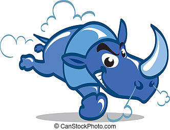 Cartoon blue rhino charging furiously.