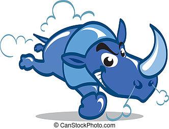 Cartoon blue rhino charging furiously.