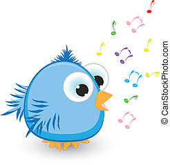 Cartoon blue sparrow singing. Illustration on white...