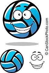 Cartoon blue volleyball ball character