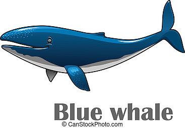 Cartoon blue whale - Cartoon smiling blue whale isolated on...