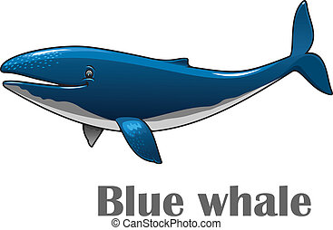 Cartoon blue whale - Cartoon smiling blue whale isolated on...