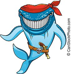 Smiling blue whale pirate cartoon character wearing in red bandanna and belt with jolly roger buckle and pistol, for mascot or childish design