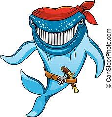 Cartoon blue whale pirate in bandanna and gun - Smiling blue...