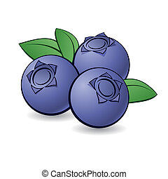 Cartoon blueberry. - Cartoon blueberry with green leaves on ...
