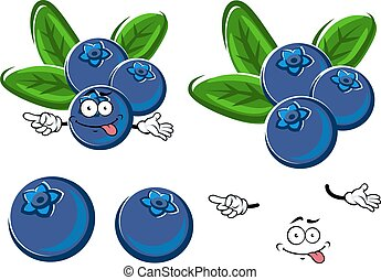 Cartoon blueberry fruits character with leaves