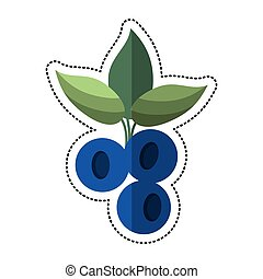 cartoon blueberry leaves diet icon