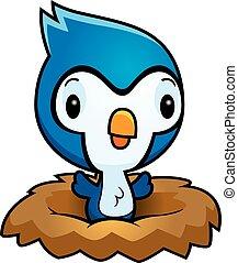 Cartoon Bluejay Nest - A cartoon illustration of a baby...