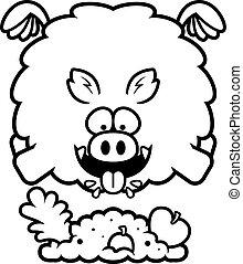 Cartoon Boar Eating - A cartoon illustration of a boar...