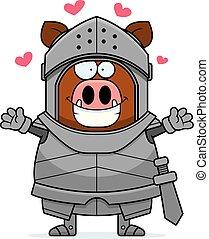 Cartoon Boar Knight Hug