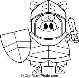 Cartoon Boar Knight Sword