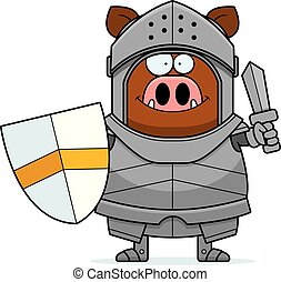 Cartoon Boar Knight Sword
