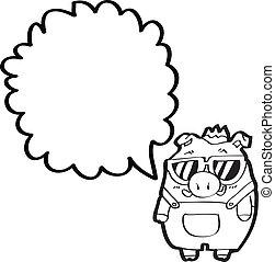 cartoon boar with speech bubble