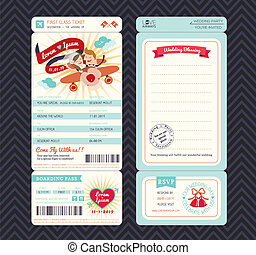 Cartoon Boarding Pass Ticket Wedding Invitation Template...