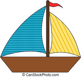 Cartoon boat. Vector illustration isolated on white.