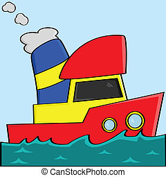 Vector illustration of a yellow, red and blue cartoon boat
