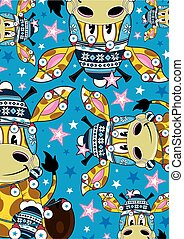 Cartoon Bobble Hat Giraffe