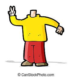 cartoon body giving peace sign (mix and match cartoons or ...