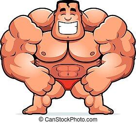 Cartoon Bodybuilder Flexing - A cartoon illustration of a...
