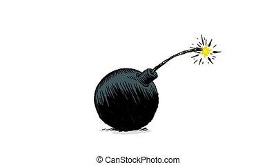 A lit fuse sets off a cartoon bomb.