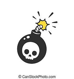 Cartoon bomb drawing - Cartoon comic style bomb with skull...