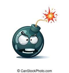 Cartoon bomb, fuse, wick, spark icon Spite smiley Vector eps 10